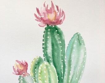 ORIGINAL 11x14 Flowering Cactus
