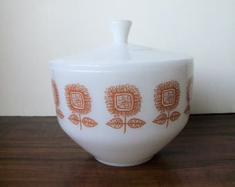 Vintage Fire King  Milk Glass bowl with lid   (#EV244)