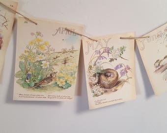 Paper Bunting, Calendar Banner, Country Diary Of An Edwardian Lady, Eco Friendly Banner, Nature Garland