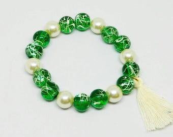 Green and Pearl Stacker Bracelet