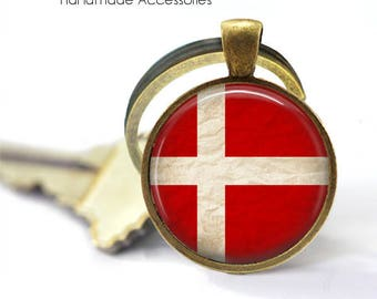 DANISH FLAG Key Ring • White Cross • Flag of Denmark • Vintage Danish Flag • Gift Under 20 • Made in Australia (K448)