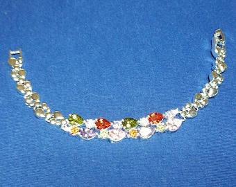 925 Sterling Silver and Gemstones Bracelet