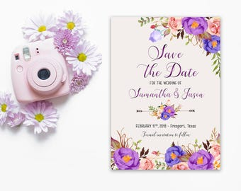 Save the Date Printable Floral Digital Wedding Purple Violet Lavender Watercolor Wedding Bohemian Save the Date Invite WS-038
