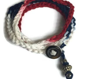 Red White and Blue Bracelet, Crocheted Wrap Bracelet, Patriotic Bracelet, Boho style, American Flag Bracelet