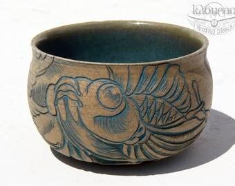 Collector Matcha tea bowl, Japanese tattoo design! by KaouennCeramics