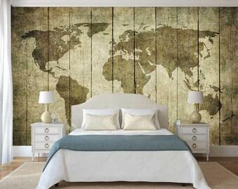 Wall Mural Vintage, Old Map Wallpaper, Vintage Wall Decal, Wall Mural Old Map, Self Adhesive Vinyl