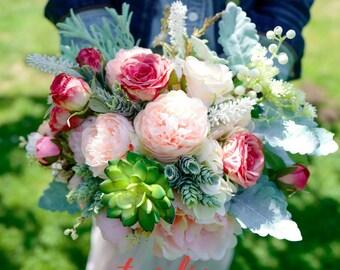 "9"" Soft Pink wedding bouquet, Bridal bouquet, Wedding Accessory, Succulent bouquet, Boutonniere, wedding flowers, Rose, Peony"