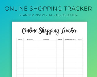 Online Shopping Tracker, Online Purchase Log, Online Orders, Online Tracking, A4, A5, US Letter, Instant Download, Printable Planner Insert