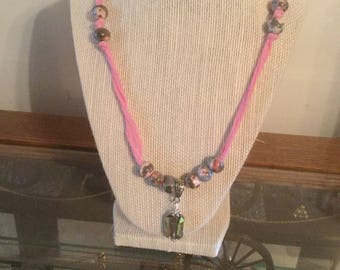 Pink  Chinese  silk cord  necklace