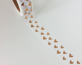 Rose Gold Heart Foil Washi Tape - Heart Washi Tape - Rose Gold Stationery