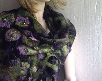 NEW - Nuno felted Floral Violet Aubergin  Black Gothic Luxury Scarf  with Decorative holes and Fringe Embroidered  Reversible