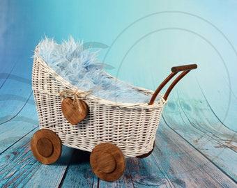 Digital backdrops for newborns Valentine day wood background White basket vintage stroller Baby girl boy photo prop heart Photography image