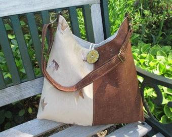 Cork Handbag, Horse Tote, Handmade Faux Suede Tote Bag, Equestrian Theme Hobo Bag by DarkHorsesDesigns