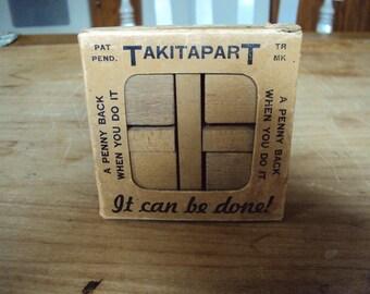 Puzzle Game, Old Puzzle, Vintage Puzzle, Brain Teaser, Wood Blocks, Old Wood Blocks,  Old Puzzle Game, Puzzle