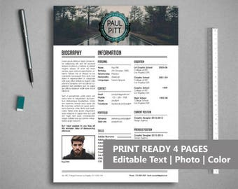 Professional resume template for Word & Photoshop | CV Template | Resume with Cover | Letter | A4 and US Letter | Instant Download. AG015