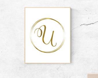 Letter U, gold, monogram, letter, initial, instant download, gold poster, printable art, wall art, gold monogram