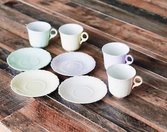 1800s Johnson Brothers Demitasse Pastel Tea Set (8 pcs)