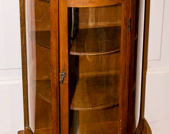 Beautiful Wooden Curved Glass Curio, Small Curio Cabinet, Table Top,  Collectible Storage,