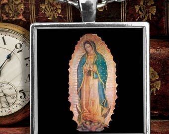 Catholic Gift Idea -For Quinceañera, Birthday etc. Beautiful Our Lady of Guadalupe Silver-Plated Square Pendant Necklace with 22-Inch Chain!