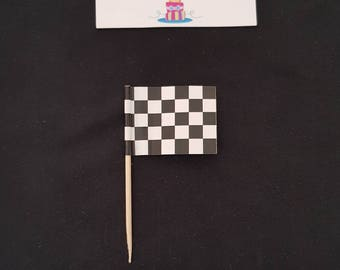 12 Checkered Flag Cupcake Toppers