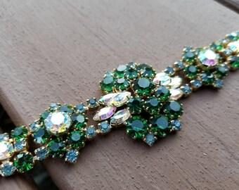 "Vintage AB & Emerald Green Rhinestone 7 1/2"" Bracelet High-end Estate Lot #400"