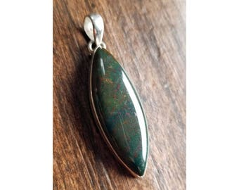 925 Sterling Silver Marquise Cabochon Bloodstone Pendant