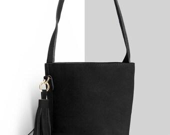 Womens handbags,  suede bag, vegan handbags,  women's suede bag, small black bag