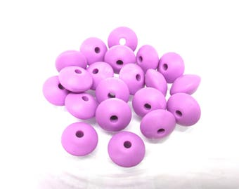 10 beads flat Silicone - purple