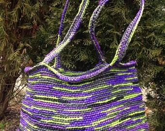 Purple and green plarn crochet tote
