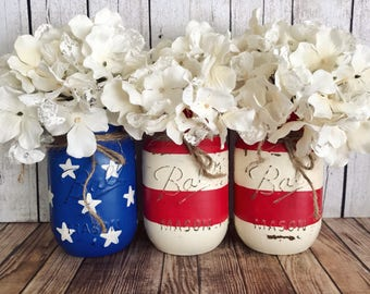 American Flag Mason Jar, red white and blue, United States, 4th of July, Independence Day, Set of 3 pint size Mason jars, Rustic Home decor