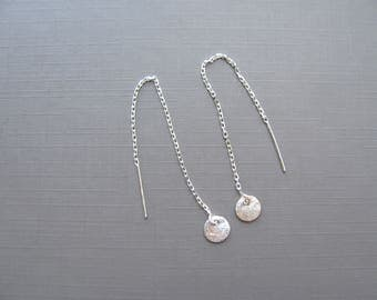 Dainty Disc Earrings, Tiny Disc chain Earrings, Sterling silver Threader earrings,  Textured circle Earrings, simple earrings, jewelry her