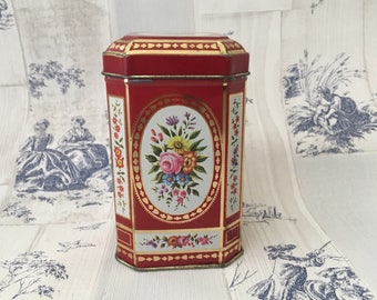 Vintage Floral Metal Tin with Hinged Lid, Red And Gold Metal Tin