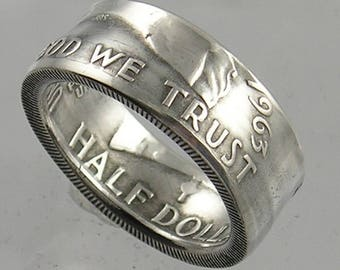 Silver Franklin Half Dollar Coin Ring - United States
