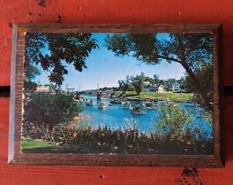 Vintage Wood Plaque - Perkin Cove, Ogunquit Maine, Yachts in Summer, Souvenir, Wooden Home Decor