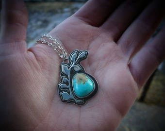 Turquoise Silver Vines Pendant // Silver Necklace // Nature Inspired Jewelry