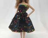 "Recital Dress-11.5"" Doll Clothes-Handmade Dress-Piano Recital Dress-Fashion Doll Dress-Black Doll Dress-Doll Dress-Handmade Doll Clothes-Toy"
