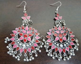 Pink and Red Enamel Silver oxidised long chandelier chandbalis party festive wear