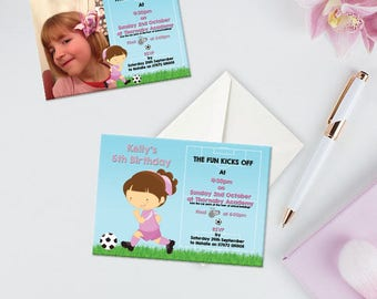 Childrens Birthday Invitation, Pink Player Girl Football Birthday Party Invitation, Pack of 10, Afforable Invitations With Envelopes