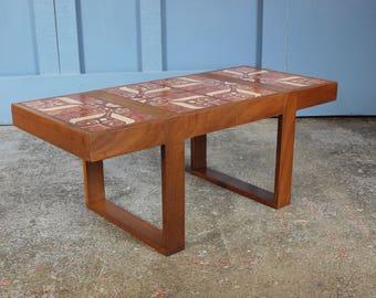Vintage Retro Danish Mid Century 1960s 1970s Teak Tiled Coffee Table