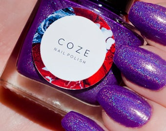 Purple linear holographic nail polish indie nail polish