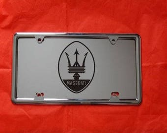 MASERATI Laser Engraved Mirror Acrylic License Plate, FREE Ship! Free Protective  Cover, Nuts and Bolts