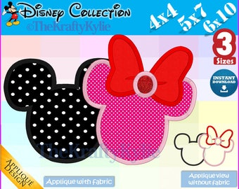 MINNIE Mickey APPLIQUE DESIGNS - 3 Sizes 4x4, 5x7, 6x10