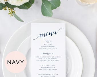 Navy Wedding Menu Template, Wedding Menu Cards, Printable Wedding Menu, Printable Menu, Menu Wedding, Wedding Dinner Menu Template