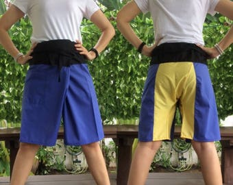 Discount 20%--Short Patchwork pants, Thai fisherman pants with 1 pocket, free size (see detail).(No.11)