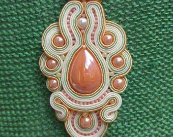 Green pendant made of Soutache, craft, eco-friendly, organic jewelry, organic jewelry, Swarovski crystals