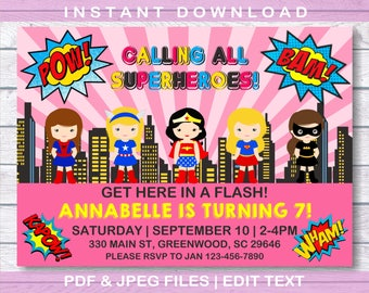 Girl Superhero Invitation, INSTANT DOWNLOAD, Girl Superhero, Girls Purple Superhero Invitation, Girls Superhero, Girls Birthday Invitaiton