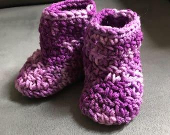 Purple Crochet Baby Booties