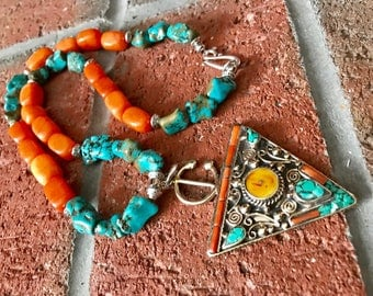 Morrocan Fibula silver berber tribal pendant & Turquoise with Orange quartzite bohemian handmade gypsy Necklace.