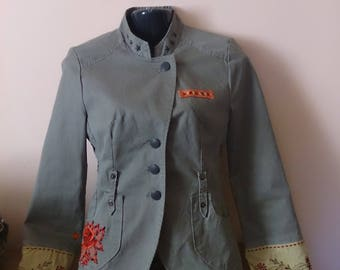 jacket with embroideries military