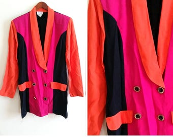 colorblock 1980s blazer hot pink blazer colorblock jacket, retro blazer hot pink orange and black retro jacket women's large blazer / xl